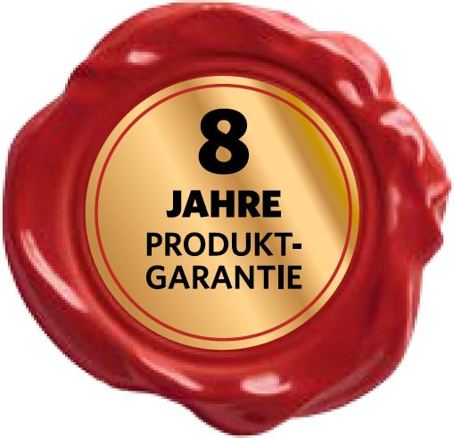 8 Jahre Garantie-Siegel