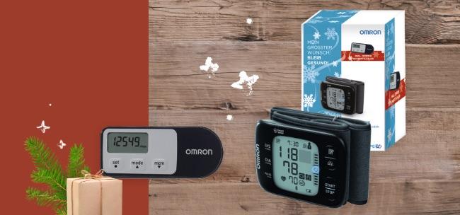 OMRON Handgelenk-Blutdruckmessgerät RS7 Intelli IT Geschenk-Edition Sanivita
