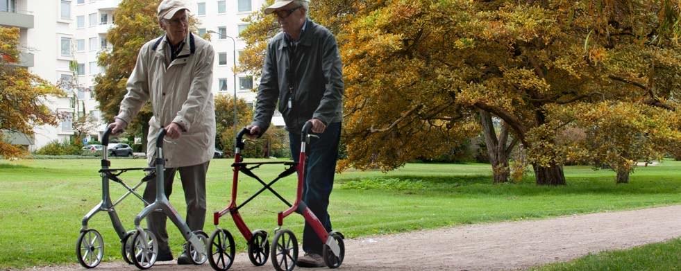 Zwei Männer mit Rollator Lets Fly auf Spaziergang im Park